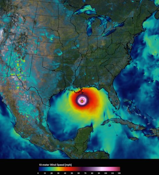 تُظهر الصورتان سرعة رياح إعصار كاترينا بالقرب من السطح في 29 آب/أغسطس 2005، ولكن في دقّة مختلفة. الصورة اليسرى دقّة 50 كم، وهي دقّة معظم النماذج العالمية في عام 2005. وتظهر الصورة اليمنى نسخة 2015 من نموذج نظام غودارد لمراقبة الأرض، الإصدار5 (GEOS-5)، في الدقّة العالمية 6.25 كم. حقوق الملكية: مركز ناسا غودارد للطيران الفضائي/ بيل بتمان Credits: NASA Goddard Space Flight Center/Bill Putman