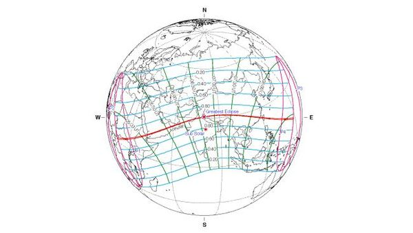 خريطة رصد الكسوف الحلقي في 21 يونيو/حزيران 2020. (حقوق الصورة: Fred Espenak /NASA)