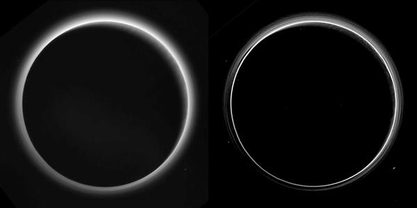 التقطت نسختان مختلفتان لصورة تظهر طبقات الضباب في الغلاف الجوي لكوكب بلوتو، بواسطة مركبة نيو هورايزنز عندما كانت تنظر إلى الجانب المظلم من بلوتو بعد 16 ساعة تقريباً من اقترابها منه. وتبلغ المسافة التي أخذت منها الصورة 480 ألف ميل (770 ألف كم)، ومن زاوية طور تبلغ 166 درجة. نرى القسم الشمالي لبلوتو من الأعلى، وتضيء الشمس من الجزء العلوي الأيمن. وتعتبر هذه الصور ذات جودة ودقة أعلى بكثير من تلك الصور المضغوطة رقمياً والتي تم تحميلها ونشرها بعد فترة قصيرة من لقاء نيوهورايزنز ببلوتو في 14 يوليو/تموز، ما سيمكننا من رؤية العديد من التفاصيل. تمت معالجة النسخة اليسرى من الصورة بشكل طفيف، بينما تمت معالجة النسخة اليمنى بشكل كبير لتجهيزها خصيصاً كي تكشف عن وجود عدد كبير من طبقات الضباب في الغلاف الجوي لبلوتو. تظهر في النسخة اليسرى تفاصيل باهتة على الهلال الضيق المضاء بنور الشمس، وتتم رؤيتها من خلال الضباب في الجزء العلوي الأيمن من قرص بلوتو. ومن المرجح أن تكون تلك الخيوط المتوازية في الضباب عبارة عن ظلال أشعة من الشفق ألقتها التضاريس في الضباب مثل السلاسل الجبلية لبلوتو.  وتعد هذه الأشعة شبيهة بتلك التي نراها في السماء عند غروب الشمس وراء الجبال على سطح الأرض.  المصدر: NASA/Johns Hopkins University Applied Physics Laboratory/Southwest Research Institute