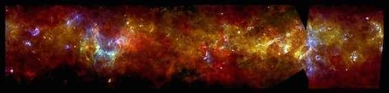 التراكيب الخيطية في قرص المجرة. المصدر: ESA/PACS & SPIRE Consortium, S. Molinari, Hi-GAL Project.