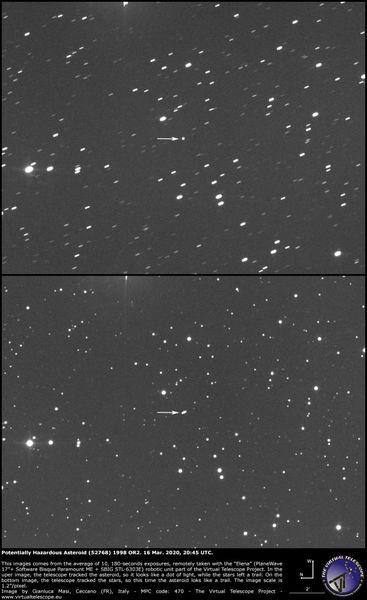 تظهر صورتان من مرسام إيلينا الفلكي التابع لمشروع التلسكوب الافتراضي الكويكب الكامن للخطر 1998 OR2 في سماء الليل في 16 مارس/آذار 2020، حوالي الساعة 4:45 مساءً بتوقيت شرق الولايات المتحدة. في الصورة العليا، تتبع التلسكوب حركة الكويكب، لذلك يظهر الكويكب كنقطة بيضاء بين بحر من مسارات النجوم الصغيرة. بالنسبة للصورة الثانية، ظلّ التلسكوب مثبتاً بالنسبة للنجوم، لذا يظهر مسارٌ صغيرٌ للكويكب. حقوق الصورة: Gianluca Masi/The Virtual Telescope Project