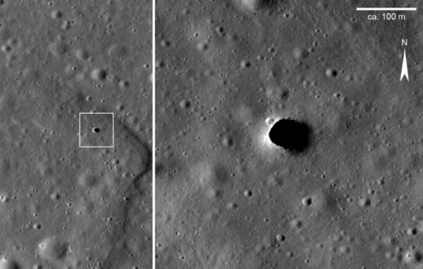 كوة بداخلها أنبوب حمم ضخم في منطقة تلال ماريوس على الجانب القريب من القمر. (حقوق الصورة: NASA/Lunar Reconnaissance Orbiter Camera/Science Operations Center)