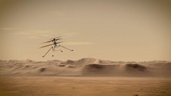 صورة فنية لطائرة إنجينيوتي أثناء تحليقها على المريخ. حقوق الصورة: NASA/JPL-Caltech