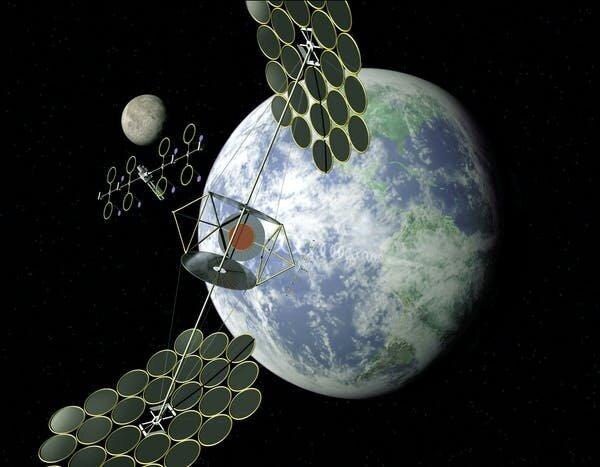 مفاهيم عن قمر صناعي للطاقة الشمسية، أُطلق عليها اسم (SPS)، أي المكثّف المتناسق الموحد. حقوق الصورة: NASA