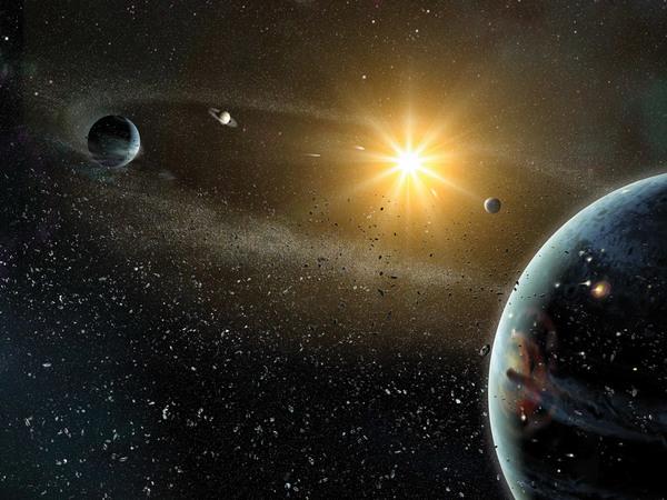 طبعة فنية للنظام الشمسي. حقوق الصورة: Dana Berry, Harold Levison, Dan Durda, SwRI