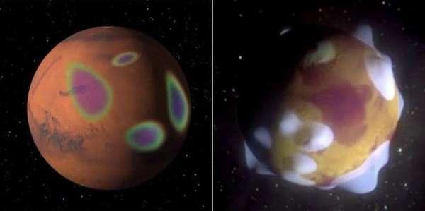نشاهد في اليسار صخوراً ممغنطة على سطح المريخ تنتج مجالات مغناطيسية محلية، أما في اليمين فنرى أن هذه المجالات تمتد لمساحة فوق الصخور، ويتكون الشفق عندما تصل إلى قمتها. حقوق الصورة: ناسا