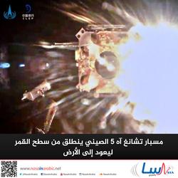 مسبار تشانغ آه 5 الصيني ينطلق من سطح القمر ليعود إلى الأرض