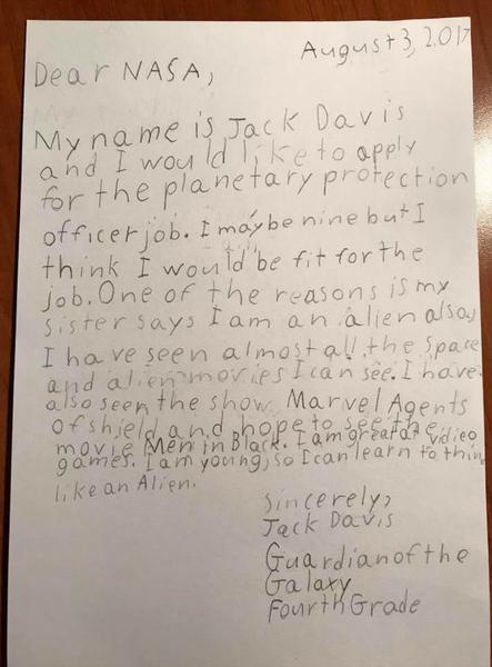 فيما يلي النصّ الكامل لرسالة جاك التي نشرتها وكالة ناسا في بيان صحفي يوم الجمعة