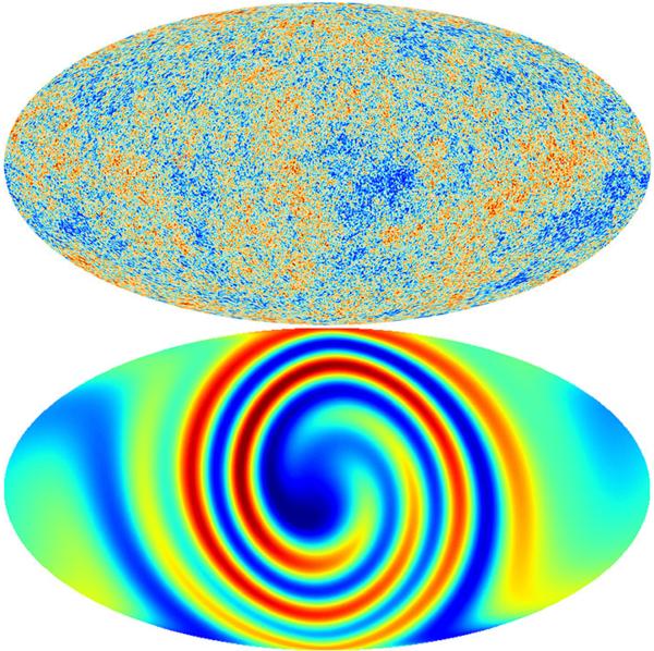 ( من شأن كون متباين الخواص أن يترك نماذج أدلة في الخلفية الكونية للأشعة الميكروية (في الأسفل). ولكن الخلفية الكونية من الأشعة الميكروية(في الأعلى) تظهر فوضى عشوائية وليست هناك أي إشارات على هذا النموذج) تعود ملكية الصورة لوكالة الفضاء الأوروبية بالاشتراك مع بلانك والدكتورة سعاده وآخرون.