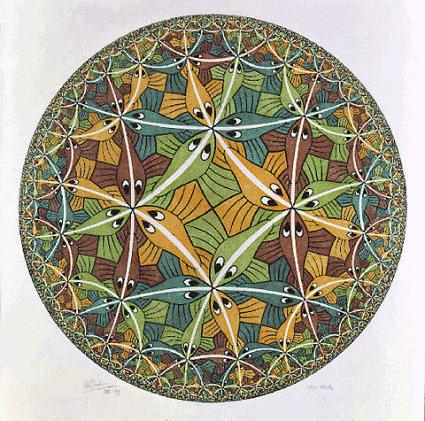 صورة Circle Limit III من إم سي إيشرMC Escher ، حيث توضح الخطوط البيضاء مسارات لأقصر المسافات. حقوق الصورة: The M.C. Escher Company - the Netherland جميع الحقوق محفوظة