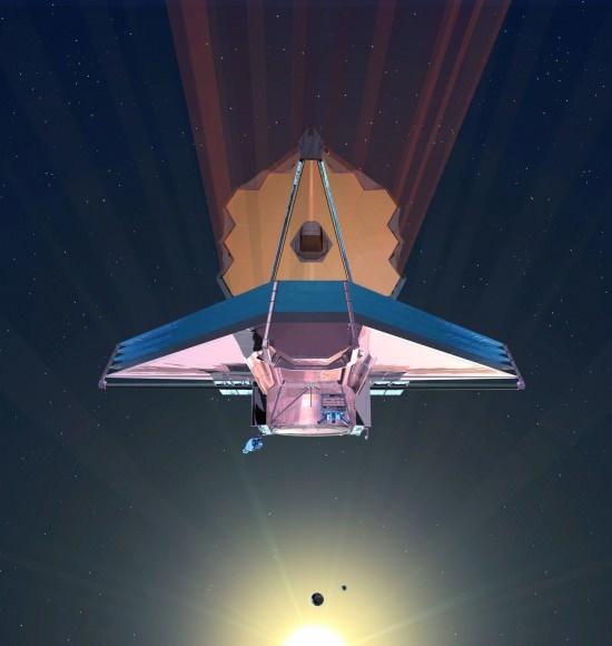 تصور فني لتلسكوب جيمس ويب الفضائي التابع لوكالة ناسا، والذي سيوفر المزيد من المعلومات حول الكواكب الخارجية التي سبق اكتشافها، وسيكون في النقطة L2 من نظام الشمس-الأرض.