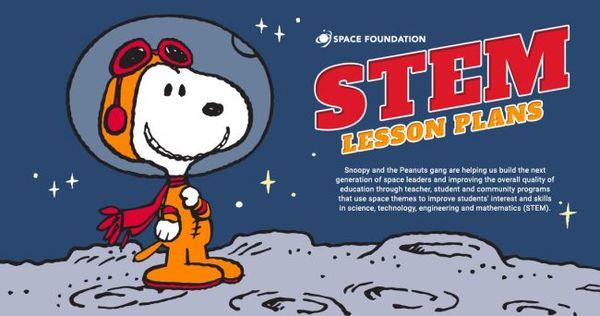 تشاركت مؤسسة الفضاء The Space Foundation مع صناع القصة الفكاهية المصورة بينتس Peanuts لإنتاج 10 خطط لـ10 دروس، كلها تكون متاحة مجانًا للتحميل بصيغة PDF من هنا:https://www.discoverspace.org/education/for-educators/stem-lesson-plans/ حقوق الصورة: The Space Foundation/Peanuts