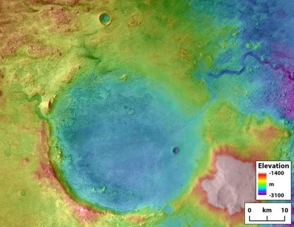 فوهة جيزيرو  حقوق الصورة: Tim Goudge/NASA