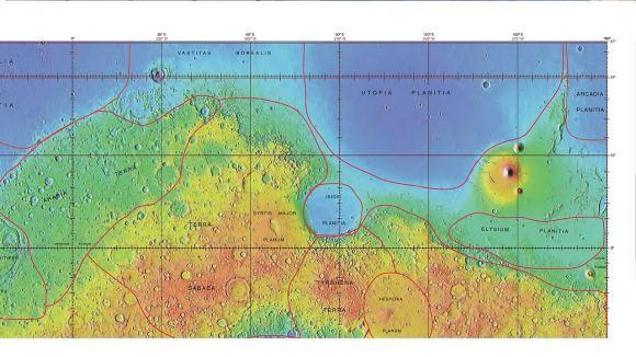 خريطة توضح حدود يوتوبيا بلانيشا ومناطق أخرى. حقوق الصورة: Jim Secosky/ NASA