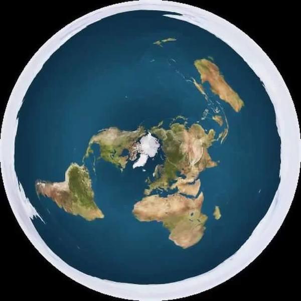 نموذج للأرض المسطحة يُظهر القارة القطبية الجنوبية كجدار جليدي يحيط بالأرض التي تأخذ شكل القرص.