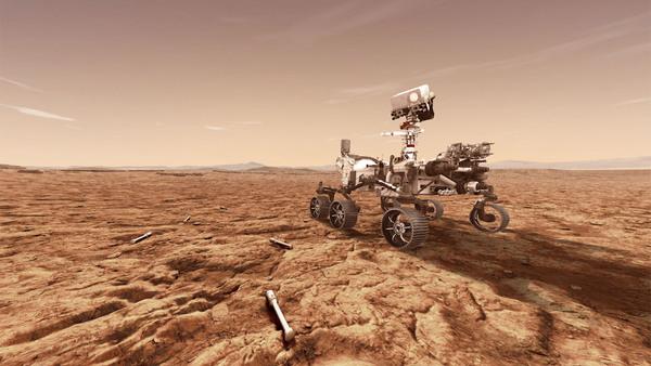 تصور فني لمركبة بيرسيفيرانس ضمن مهمة مارس 2020 وهي تخزن عينات من صخور المريخ في أنابيب لتعطيها لمركبة أخرى ستجلبها للأرض. حقوق الصورة: ناسا/مختبر الدفع النفاث – معهد كاليفورنيا للتقنية.