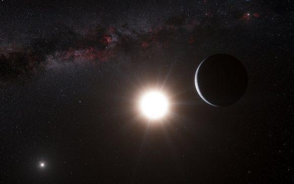 رسم تخيلي للكوكب الخارجي الشبيه بالأرض في مدار حول ألف القنطور ب الذي اكتشفه المرصد الأوروبي الجنوبي في 17 تشرين الأول/أكتوبر من عام 2012. المصدر: ESO