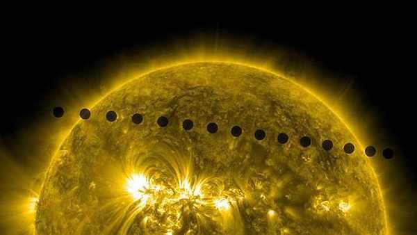 يظهر كوكب الزهرة وهو يعبر أمام قرص الشمس في هذا التسلسل الذي تم تجميعه من صور متتالية. وقد تم تصوير هذا العبور من قبل المرصد الديناميكي الشمسي (Solar Dynamic Observatory) الذي يقوم برصد الشمس من الفضاء. المصدر: NASA/SDO.