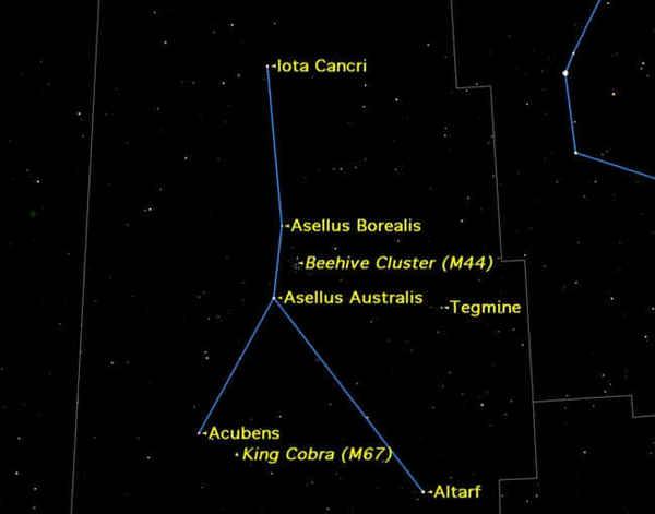 تزخر كوكبة السرطان الصغيرة الخافتة بالعديد من العناقيد النجمية المفتوحة open clusters والنجوم المزدوجة double stars.  حقوق الصورة: Starry Night Software