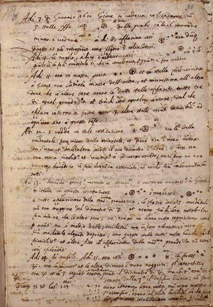 غاليليو غليلي (1564-1642) مخطوطة لمذكرة مشاهدات المشتري، 1610  فلورنسا، المكتبة الوطنية المركزية، المخطوطة 49، وكذلك 10v-11r، (مكتبة متاحة للعموم)
