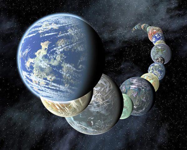 رسم فني لمجموعة من الكواكب الخارجية الشبيهة بالأرض التي تم اكتشافها خلال السنوات الأخيرة. المصدر: NASA/JPL