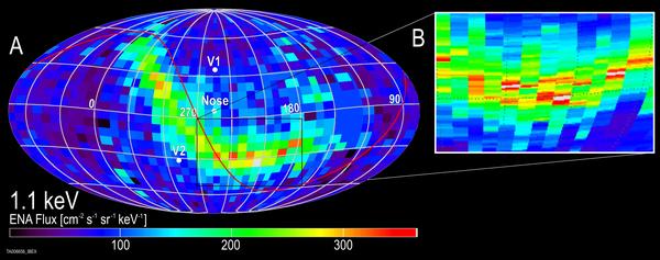 شريط إيبكس هو شريحةٌ ضيقةٌ نسبياً من الجسيمات تحلّق باتجاه الشمس آتيةً من الغلاف الشمسي. تؤكد الدراسة الجديدة فكرة أنّ الجسيمات من خارج الغلاف الشمسي التي تُشكِّل شريط إيبكس تنشأ في الواقع من الشمس. وتكشف المعلومات حول الحقل المغناطيسي بين النجمي البعيد. الملكية: SwRI.