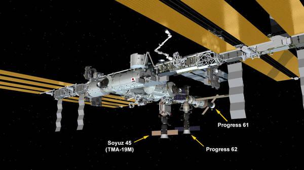 تكوين محطة الفضاء الدولية، (باتجاه عقارب الساعة من الأعلى)، التحام سفينة الفضاء سويوز Soyuz TMA-18M إلى وحدة البحوث المصغرة Poisk. التحام سفينة الفضاء بروغرس 61 Progress 61 إلى وحدة الخدمة زافيزدا Zvezda، التحام بروغرس 62 (Progress 62) بحجرة الالتحام بريس Pris. التحام مركبة سويوز Soyuz TMA-19M بوحدة البحوث المصغرة راسفت Rassvet. رست بضائع سفينة Cygnus-4 إلى وحدة السفينة Unity.