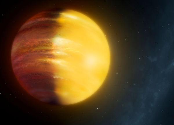 صورة فنية توضيحية لكوكب HAT-P-7b الخارجي الذي يقع على بعد 1000 سنة ضوئية من الأرض، وهو عبارة عن كوكبٍ غازيٍ ضخم أكبر من الأرض بـ 16 مرة، كما أنه يتمتع برياحٍ غريبةٍ جداً من الياقوت الأزرق والأحمر.