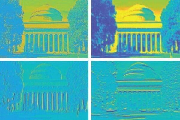 أعادت الرقاقة الجديدة المُصنعة من معهد ماساتشوستس للتكنولوجيا صورة قاعة كيليان التابعة للمعهد مع شحذ الصورة وطمسها بشكل أكثر موثوقية من التصميمات ذات الطراز العصبي الحالية. حقوق الصورة: الصورة مقدمة من الباحثين