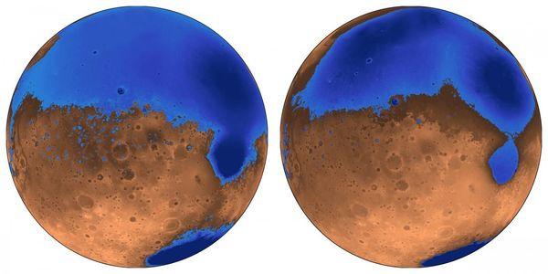 محيط المريخ القديم المعروف باسم شبه الجزيرة العربية Arabia (الأزرق من اليسار) كان سيبدو أشبه بكثير بهذا الشكل حين تشكّل على الكوكب الأحمر منذ 4 مليارات سنة، حين كان عمر محيط الكوكب الأصغر ديوتيرونيلاس 3,6 مليار سنة. وقد اختفت مياههما الآن، ربما تجمّدت تحت الأرض أو ضاعت جزئياً في الفضاء. حقوق الصورة: Robert Citron images, UC Berkeley