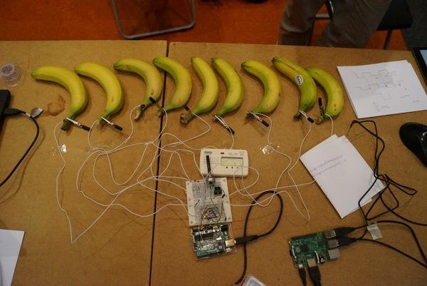 يصدر الموز نغمات موسيقية عندما نضغط عليه، وذلك لأن أجسامنا أيضاً كالموز ناقلة للشحنات الكهربائية.