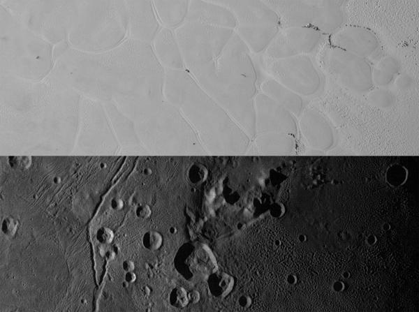 """يوجد فوق نيو هورايزنز العديد من المشاهد، إحداها سطح أملس ساطع يدعى بشكلٍ غير رسمي """"سبوتنيك بلانوم"""" Sputnik Planum على بلوتو (في الأعلى)، والآخر يدعى بشكلٍ غير رسمي """"فولكان بلانوم"""" Vulcan Planum على القمر شارون (في الأسفل)، يبلغ مقياس شريط سبوتنيك بلانوم 228 ميلاً (367 كم) طولاً، وفولكان بلانون 194 ميلاً (312 كم) طولاً، مع العلم أن الإضاءة من جهة اليسار، الجانب المشرق عبارة عن سهول النيتروجين الجليدي المحددة بشبكةٍ من القنوات الطويلة.  أخذت هذه المشاهدة بواسطة الأداة رالف (Ralph) وكاميرا التصوير المرئي متعددة الأطياف (Multispectral Visible Imaging Camera) أو اختصاراً (MVIC)، بجودة تصل إلى 320 متراً (1,050 قدماً) لكل بيكسل.  يتضمن مشهد فولكان بلانوم في اللوحة السفلية """"جبلاً محاطاً بخندق"""" كلارك مونس (Clarke Mons) فوق منتصف الصورة.  تُظهر السهول الغنية بالمياه الجليدية مستوى البنية السطحية للمناطق الناعمة والمُجعّدة في اليسار، والحُفر والقمم العالية (التلال) في اليمين. أخِذت هذه المشاهدة بواسطة المصور الاستقصائي واسع المجال (Long Range Reconnaissance Imager)، أو اختصاراً (LORRI)، بدقة تصل إلى 160 متراً (525 قدماً) لكل بيكسل. Credits: NASA/JHUAPL/SwRI"""