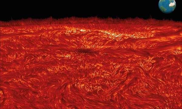 بقعة شمسية تقع جهة حافة الشمس، مرئية هنا كمجمع مظلم من البلازما مع مجال مغناطيسي قوته مشابهة لتلك التي في آلات التصوير بالرنين المغناطيسي الحديثة الموجودة في المستشفيات. وبالرغم من ذلك، إنه حجم البقعة الشمسية الذي يُقارن بحجم كوكبنا الأرض (انظر لمقياس الأرض الموجود في الجانب الأيمن العلوي)، هو ما يعطي الطاقة والقوة الشديدتين. امتدادًا لأعلى من البقعة الشمسية عالية المغناطيسية، هناك خطوط مجال يمكنها إرشاد وتوجيه الحركات الديناميكية من خلال الطبقات الأعمق للشمس. العمل الحديث المنشور في مجلة Nature للفيزياء يكشف دليلًا، ولأول مرة، عن كيفية ندرة تكاثر الموجات المغناطيسية، مُرشَدة تصاعديًا من سطح الشمس، يمكنها تكوين موجات صدمة تسخن البلازما المحيطة بآلاف الدرجات.  حقوق الصورة: إيما غالاغر
