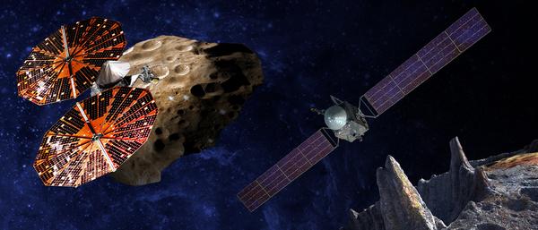 (على اليسار) صورة فنية توضيحية لمركبة لوسي Lucy أثناء تحليقها بالقرب من كويكب يوريباتس Eurybates في حزام كويكبات طروادة إذ يُعتبر واحداً من ستة كويكبات طروادية متنوعة ذات أهمية علمية كبيرة للدراسة. تعد الكويكبات الطروادية بقايا وآثار لتكوّن الكواكب، وبذلك سوف تزودنا بمعلوماتٍ مهمةٍ عن التاريخ القديم للنظام الشمسي. (على اليمين) صورة توضيحية للمركبة سايكي Psyche، أول مهمة نحو الكويكب المعدني سايكي 16 (psychy16)، ستزودنا بخريطةٍ لصفات هذا الكويكب وبنيته ومكوناته وحقله المغناطيسي، كما ستتفحص معالمه التي لم يسبق لها مثيل. ستعلمنا مهمة سايكي عن اللبّ المخفي للأرض والمريخ وعطارد والزهرة. حقوق الصورة: SwRI and SSL/Peter Rubin