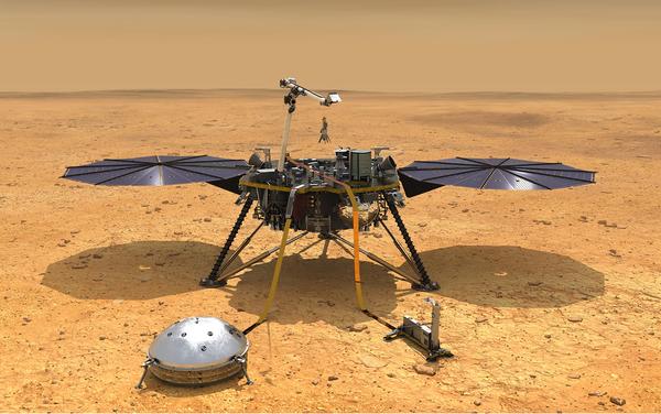 صورة فنية للمركبة إنسايت بعد نشر معدّاتها فوق سطح المريخ حقوق الصورة: NASA/JPL-Caltech