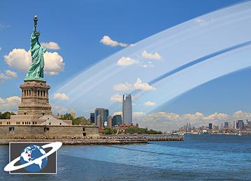 لو كانت للأرض حلقات، لكان لمدن بعيدة عن خط الاستواء مثل نيويورك منظر رائع. مصدر الصورة: 2015 HOWSTUFFWORKS, A DIVISION OF INFOSPACE LLC