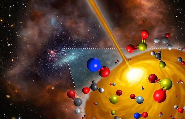 تصور فني للنواة الجزيئية الساخنة.  حقوق الصورة: FRIS/Tohoku University