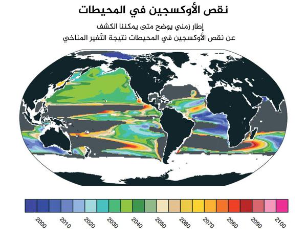 الجدول الزمني لنقص الأكسجين على مدى العقود القليلة المقبلة، يتوقع أن نرى المزيد من الأدلة على نقص الأوكسجين في المحيطات.