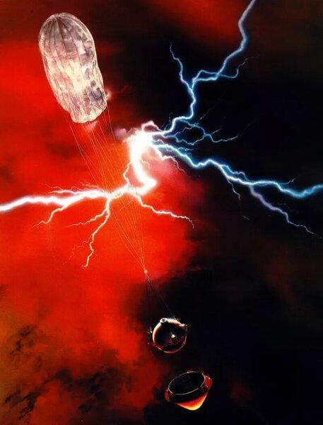 صورة تُظهر مسبار بيونير 13 الكبير، الذي حمل أل أم أن أس، وهو يخترق غيوم كوكب الزهرة.حقوق الصورة: ناسا