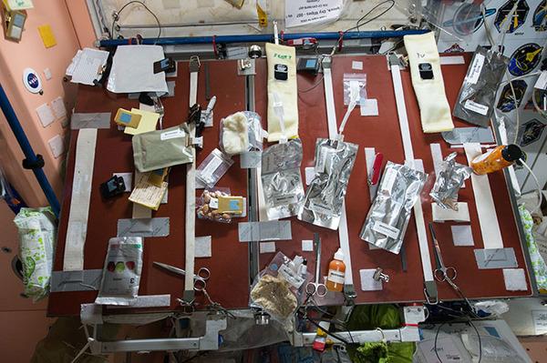 التقط هذه الصورة سكوت كيلي وهو مهندس الطيران في بعثة رقم 43، حيث نرى فيها جدول الأغذية الموجود في العقدة رقم1 على متن محطة الفضاء الدولية.  المصدر: NASA