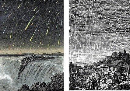 """النقوش الخشبية القديمة التي تصور عاصفة شهب الأسديات 1833 - """"ليلة سقطت النجوم."""""""