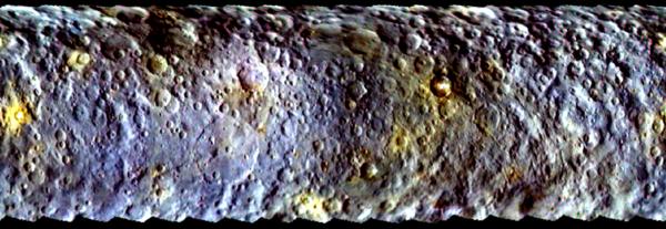 تم إنشاء المشهد لسيريس باستخدام مجموعة من الصور المُلتقطة من قبل المركبة الفضائية داون أثناء اقترابها الأولي من الكوكب القزم، وقبل أن يتم أسرها في مدارها في مارس/آذار 2015.