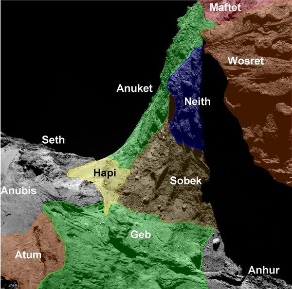 خرائط تسلط الضوء على مناطق متنوعة في نصف الكرة الجنوبي للمذنب