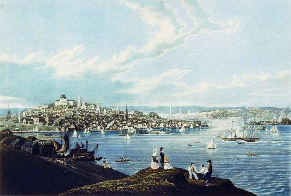 بوسطن حوالي عام 1841 حقوق الصورة: Wikimedia Commons