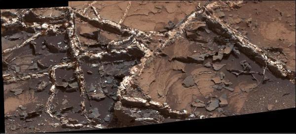 العروق المعدنية في موقع غاردن سيتي والتي فَحَصَهَا المتجول المريخي كريوسيتي التابع لناسا. مصدر الصور: NASA.