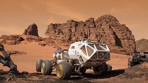 عربة التجول التي تم استخدامها في فيلم المريخي، وهي وسيلة مواصلات أساسية على سطح الكوكب الأحمر. المصدر: جايلز كيت.
