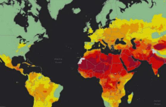 يظهر مخطط حراري لمنظمة الصحة العالمية أعلى (ملونة باللون الأحمر) وأدنى (ملونة باللون الأخضر) مستويات تلوث هواء في جميع أنحاء العالم. حقوق الصورة: منظمة الصحة العالمية