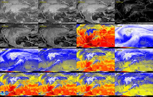 تظهر هذه الصورة المكونة من 16 لقطة الولايات المتحدة قاريا وذلك في القناتين المرئيتين، وأربع قنوات مقربة عاملة بالأشعة تحت الحمراء وعشر قنوات عاملة بالأشعة تحت الحمراء على جهاز تصوير خط الأساس المتقدمadvanced baseline imager . تساعد هذه القنوات الأرصاد الجوية على معرفة الاختلافات في الغلاف الجوي كالغيوم وبخار الماء والدخان والجليد والرماد البركاني.