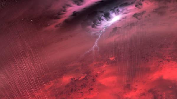 يبيّن هذا التصوّر الفني لتيم بايل ما قد يبدو عليه الطقس على أجسامٍ باردةٍ شبيهةٍ بالنجوم المعروفة بالأقزام البنية. Credits: NASA/JPL-Caltech/University of Western Ontario/Stony Brook University