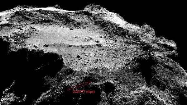 تُظهر هذه الصورة المنطقة البيضاوية كونسيرت وأبعادها 16×160 متر، وهي محتجبة وراء بعض التضاريس كما تبيّن كاميرا أوسيريس ضيقة الزاوية. لا يظهر حجم المنطقة البيضاوية وموقعها بشكل واضح على مستوى البيكسل، وقد يتغير عند تحليل المزيد من المعطيات حول شكل ونموذج المذنّب. التُقطت هذه الصورة من على بعد 18 كم من سطح المذنب في 13 و 14 كانون الأول/ديسمبر. وصورة أوسيريس هي صورة مقصوصة بأبعاد 2×2 وهي مركّبة من صور NAC تم التقاطها في 13 كانون الأول/ديسمبر عام 2014 من على بعد يقرب من 18 كم من سطح المذنّب، حيث إنّ دقّة صورة NCA من على هذا البعد تقارب 34 سم لكل بيكسل، كما وتغطّي الصورة كاملة ما يقارب 1,3 كم.  Credits: Ellipse: ESA/Rosetta/Philae/CONSERT; Image: ESA/Rosetta/MPS for OSIRIS Team MPS/UPD/LAM/IAA/SSO/INTA/UPM/DASP/IDA